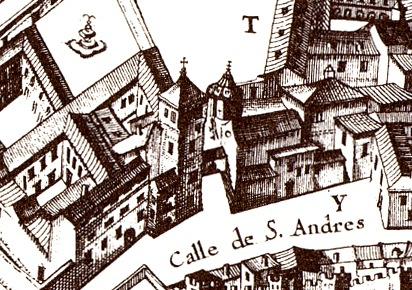 Iglesia de San Andrés en el plano de Pedro de Teixeira en 1665
