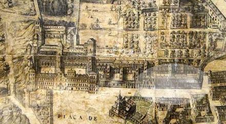 Alcázar de Madrid y Casa del Tesoro (elipse) según el Plano de Teixeira en 1656 (Fuente: Viendo Madrid)