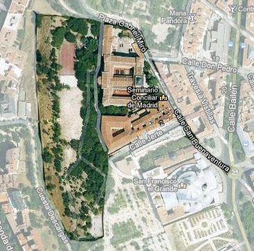 Vista aérea actual con la calle de San Buenaventura y las antiguas propiedades de la Casa del Infantado
