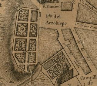 Detalle de las Casas del Infantado con la calle del Gato. Plano de Chalmandrier 1761