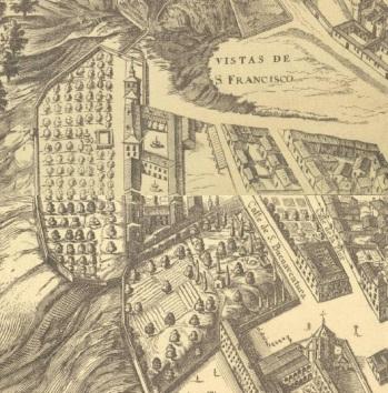 Plano de Teixeira de 1656. Detalle del Palacio del Infantado en la Vistillas