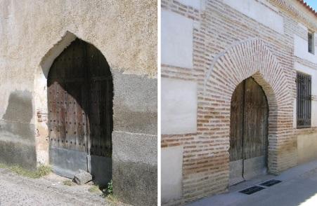 Portada con arco conopial. Imagen de 2005 (izq) y del 2007 (drcha)