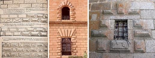 Modelo de almohadillados de Serlio (1540) / Ventanas almohadilladas del Hospital Tavera (1541-1603) / Ventana sacristía Hinojosa (1560-64)