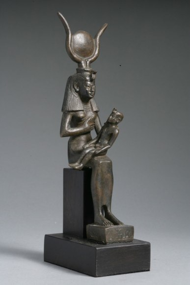 3-Egyptian-Bronze-Statuette-of-Isis-and-Horus