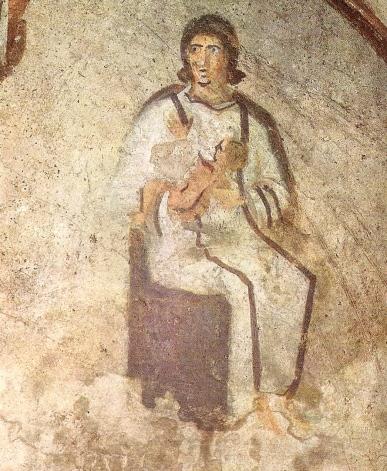 Maternidad (la Virgen con el Niño), pintura mural de las catacumbas de Priscila (Roma)