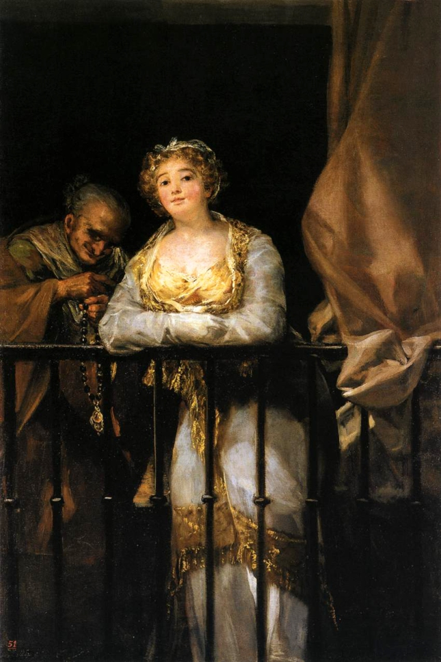 1808-1812. Maja y Celestina al balcón. GOYA