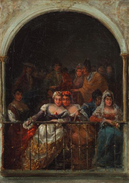 1850. Majas en la corrida de toros. LUCAS VELÁZQUEZ