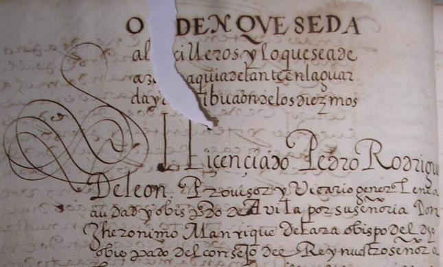 Ley para diezmar Castillo de Bayuela (Toledo)
